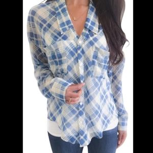 Free People Button Down Shirt Blue White Sheer
